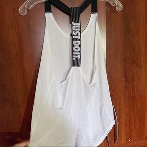 Nike Dri-Fit Black and White Logo Racerback Tank S